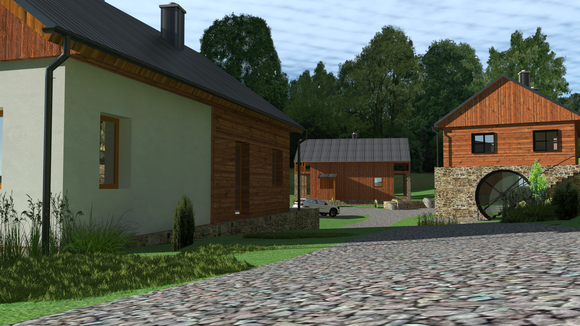 Prodej komerčního objektu s dalšími stavebními pozemky u Čachrova v srdci Šumavy